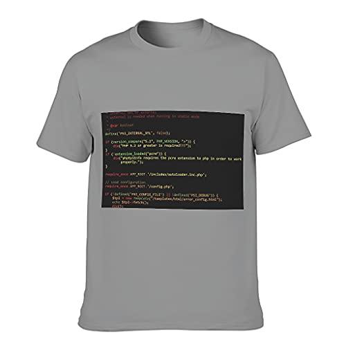 Camiseta de algodón para hombre con codificación popular y ligera Gris oscuro. L