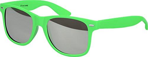 Balinco Hochwertige Nerd Sonnenbrille Rubber im Retro Stil Vintage Unisex Brille mit Federscharnier - 96 verschiedene Farben/Modelle wählbar (Hellgrün - Silber verspiegelt)
