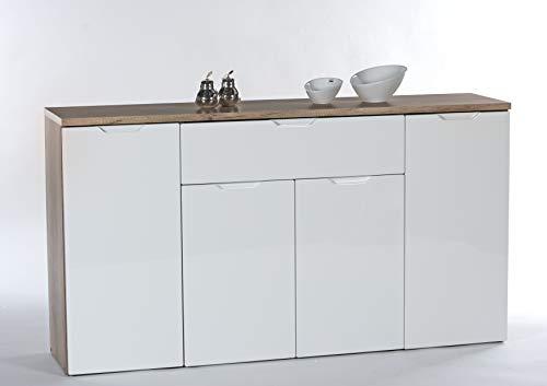 AVANTI TRENDSTORE - Roy 3 - Comó in Legno Laminato di Colore Bianco e Quercia Momentum, con 4 Ante e 1 cassetto. Dimensioni Lap 146x79x34 cm (146x79x34 cm, Quercia Momentum/Bianco)