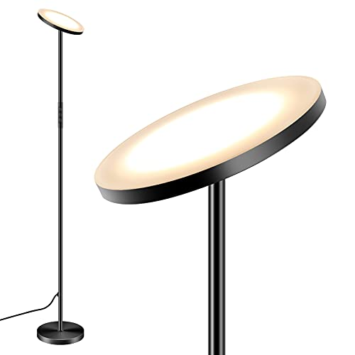 Torkase Floor Lamp with Remote, Uplighter Floor Light, LED Dimmable Tall Standing Modern Pole Light 24W Daylight Floor Lights for Living Rooms & Bedrooms,Long Lifespan High Lumens-Black