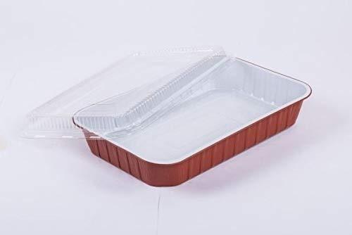 MAQA 25 pezzi Vaschette alluminio con coperchio 8 porzioni, contenitori usa e getta per alimenti SMOOTHWALL 322 x 262 x H 60 mm
