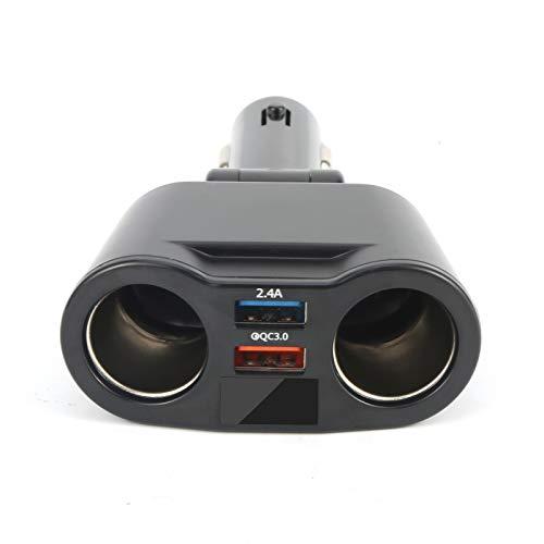 Yagosodee Pantalla Digital de Voltaje de Cargador de Coche con Puerto USB Dual con Encendedor de Cigarrillos para Cargar La Tableta GPS del Teléfono Móvil