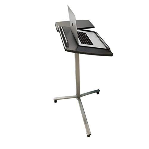 AMTSKR - Mesita de Noche, Mesa de Ordenador, Soporte para portátil, Cama con Escritorio, de pie, en el sofá, Levantar y Mover, Color Negro