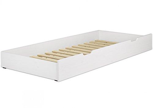 Erst-Holz® Bettkasten weiß Bettschublade mit Rollrost als Zusatzbett für Einzel- und Seniorenbetten 90.10-S6 W