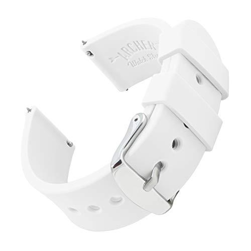 Archer Watch Straps Silikon Uhrenarmband mit Schnellverschluss - Weiß, 22mm