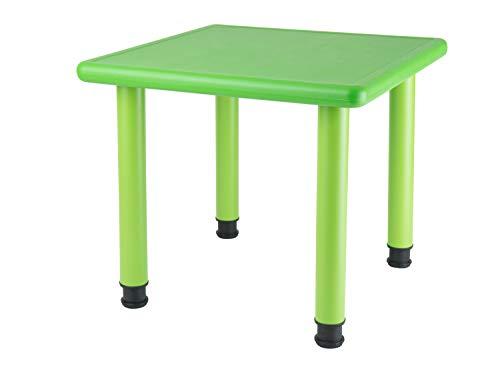 Bieco Kindertisch, Design: Grün | Tisch für Kinder 1- 8 Jahre | Kinder Tisch ca. 62x 62x 52 cm, Höhenverstellbar | Maltisch für Kinder, Gartentisch, Kinderzimmertisch | Tisch Kinder-Schreibtisch