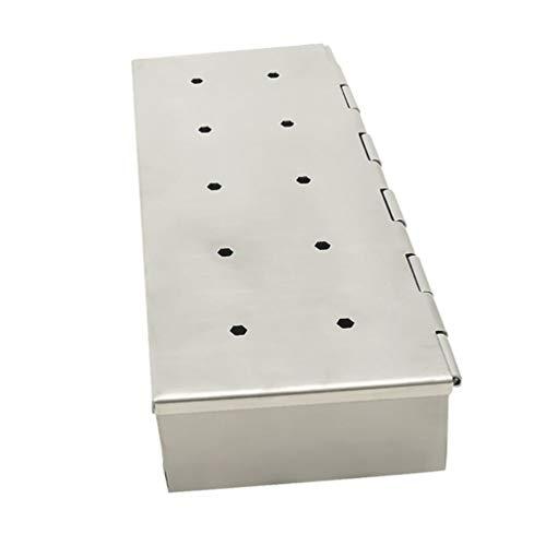 YARNOW Caja Ahumadora de Acero Inoxidable para Barbacoa Caja para Fumadores Caja para Astillas de Madera Accesorios para Barbacoa