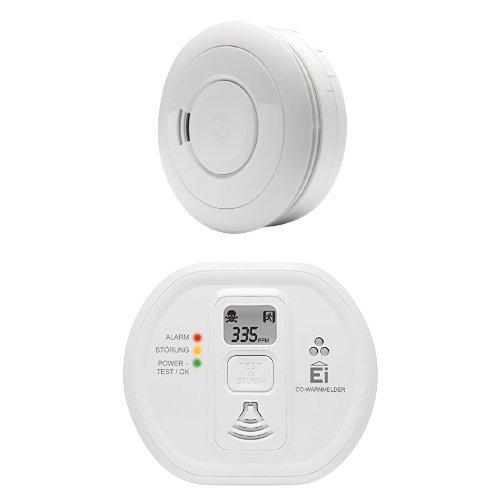 Ei Electronics Ei650 10-Jahres-Rauchwarnmelder, weiß, 1 Stück + Ei208D 10-Jahres-Kohlenmonoxidwarnmelder, weiß, 1 Stück