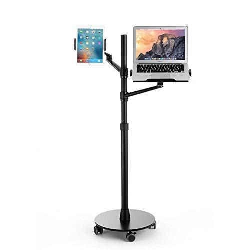 Soporte para iPad de aleación de aluminio para escritorio, altura ajustable 75-123cm / 29.5-48.4in, soporte para tableta negro para trípode para pantalla de 4.7 '-12.9' iPhone Samsung, Ipad, Nintendo