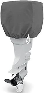 North East Harbor Trailerable Outboard Boat Motor Engine Cover Up to 25 Horsepower - Gray Heavy Duty Water Resistant Thick Polyester Fabric