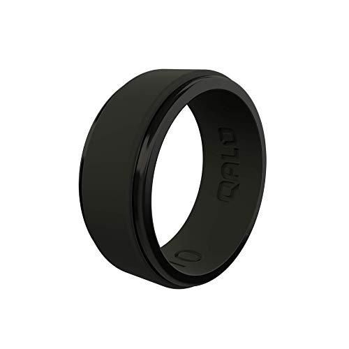 QALO Men's Black Polished Step Edge Ring Size 10