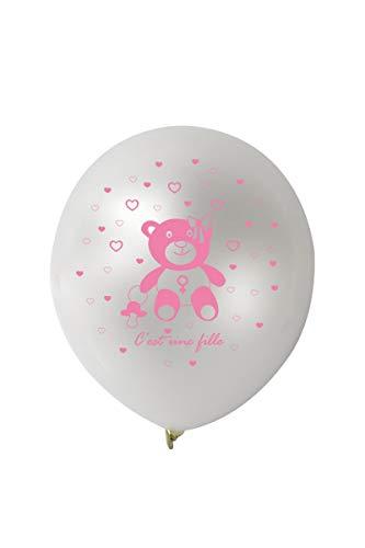 Farfouil en fête 10 BALLONS METAL BLANC NAISSANCE ROSE 28CM
