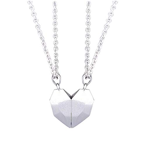 Two Souls One Heart Necklace Couple Neck Chain, Couple Magnetic Heart Necklace Silver + Silver