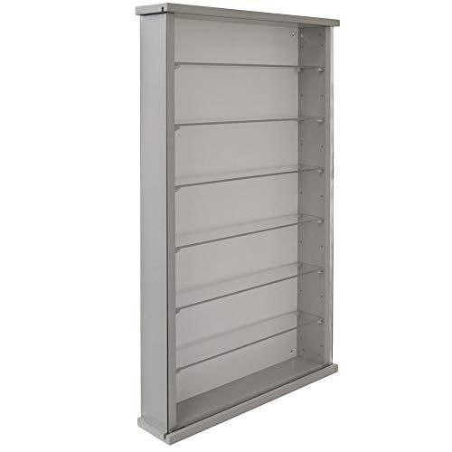 WATSONS Wall Display Cabinet Wood 6 Glass Shelves - Grey