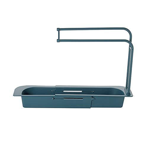 Retractable Sink Rack, Adjustable Length, Telescopic Sink Storage Rack   Sink Caddie   Kitchen Organizer   Kitchen Sink Sponge soap Rack, Suitable for Kitchen Bathroom (Blue)
