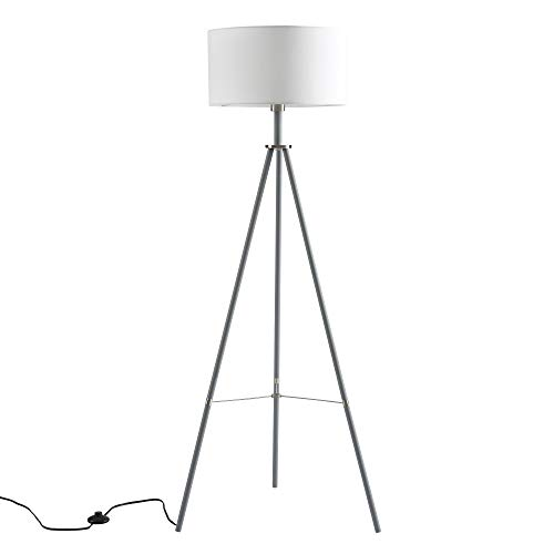 Ambiore Tripod Floor Lamp with Complimentary Bulb Miller – Modern Elegant Indoor Standing Light for Mid-Century Living Room and Bedroom – Contemporary Black Stand with Brass Touch & White Fabric Shade