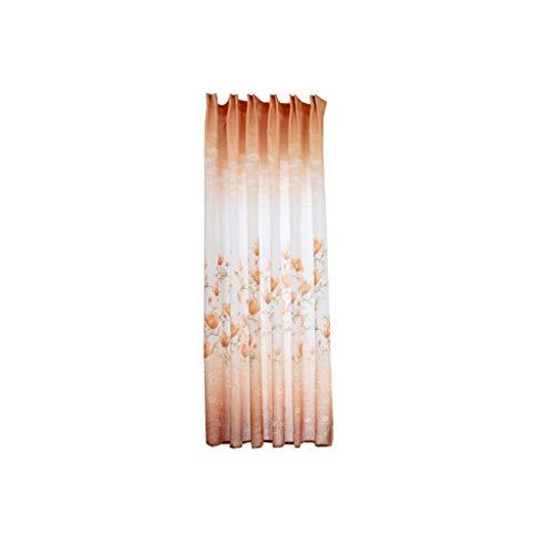 YSFWL Fensterdekoration Transparent Gardine Yingshan Redwood Curtain EinzelstüCk Haken Typ 200X100Cm (HöHe X Breite) Blumen Voile Vorhang Deko FüR Wohnzimmer Schlafzimmer Studierzimmer (Gelb)