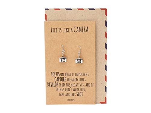 Quan Jewelry Cute Vintage Camera Miniature Jewelry for Women, Photography Gifts, Gifts for Best Friends, Teens, Kids, Selfie Lovers, Photographers, Comes with Inspirational Quote (Earrings)