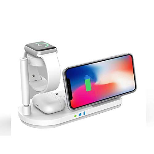LAHappy Cargador Inalámbrico Plegable 3 en 1, 15W MAX Estación de Carga Inalámbrica con Luz de Noche para AirPods 2/Pro Apple Watch 2/3/4/5/6/SE, iPhone 12/11/11 Pro MAX/X/XS MAX/8
