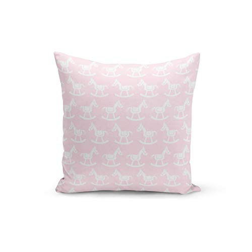 Funda de cojín con cierre de cremallera invisible, diseño de caballo balancín, color rosa