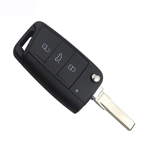 ASHDelk 3 Tasten Flip Klappschlüssel Shell Remote Keyless Fob Case Auto Ersatz, Für VW Golf 7 GTI MK7 Skoda Octavia A7 Sitz