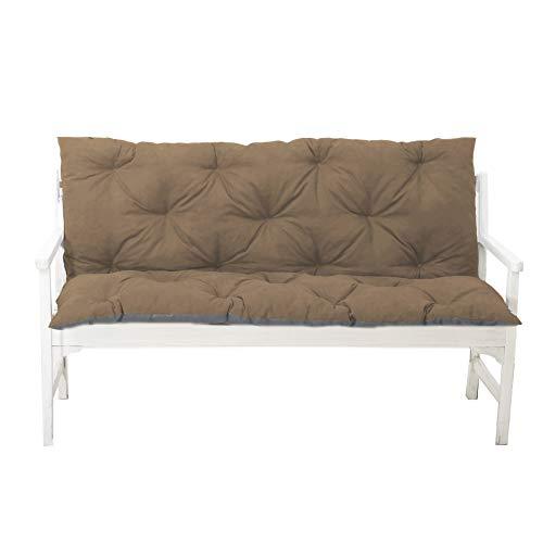 4L Textil Gartenbankauflage Bankauflage Bankkissen Sitzkissen Polsterauflage Sitzpolster (150x60x50, Braun)
