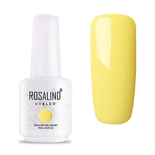 ROSALIND UV LED Gel Nagellack Gelb für Nageldesign Yellow Gel Nail Polish Soak off 1 Stück 15ml