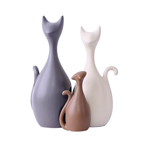 Magenesis Soprammobile Ceramica della Famiglia dei Gatti Belli, Stile Moderno e Creativo Elementi Decorativi (3 Gatti