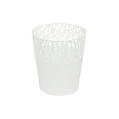 Rond cache-pot 14 cm CITY en plastique romantique style en blanc