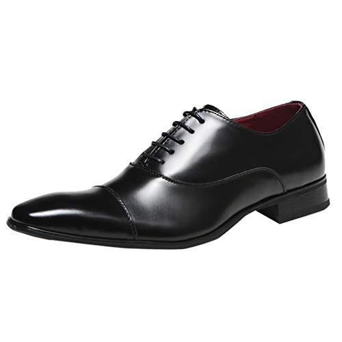 Men's Dress Shoes Cap Toe Lace up Oxford Classic Shoes Modern Formal Business Leather Shoes Black