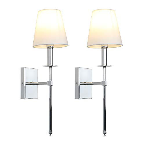 Permo Set of 2 Classic Rustic Industrial Wall Sconce Lighting Fixture with Flared White Textile Lamp Shade and Chrome Tapered Column Stand