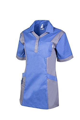 Clinotest Damenkasack Julia, Gesundheitswesen, für die Pflege, Berufsbekleidung, in Trendfarben (2XL, metro blue/hosp. grey)