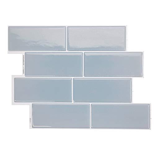 """Smart Tiles Selbstklebende Fliesen Metro Babe Hellblau - 4 x Bogen Klebefliesen à 29,4 x 21,3 cm (11,56"""" x 8,38"""") - 3D Fliesenaufkleber - Spritzschutz für Küche, Bad"""