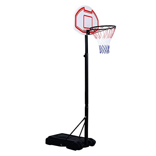Outsunny HOMCOM Canestro da Basket da Esterno con Supporto e Altezza Regolabile in Acciaio 73 × 49 × 194-249 cm