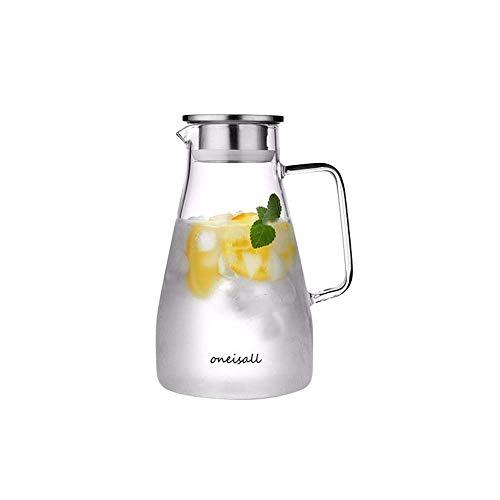Jarra de agua de 1,5 l, hecha de vidrio de borosilicato, hervidor de vidrio, jarra de vidrio caliente/frío, hervidor de agua con tapa y asa, adecuado para leche, agua fría, café caliente, etc.