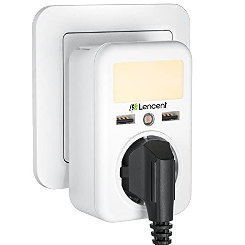 LENCENT Luz de Noche Enchufe con Sensor, Enchufe USB Pared Multiple, Adaptador de Cargador con Luz Nocturna Ajustable, Ladron Enchufe para Habitación, Baño y Pasillo.
