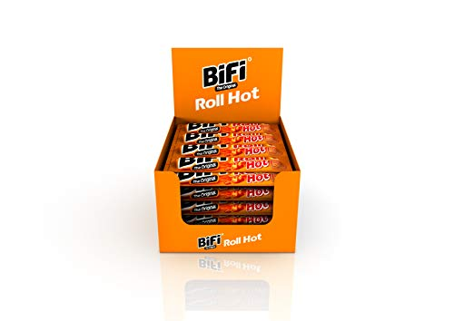 BiFi Roll Hot – 24er Pack (24 x 45 g) – Herzhafter, pikanter Salami Fleischsnack – Snack im Teigmantel