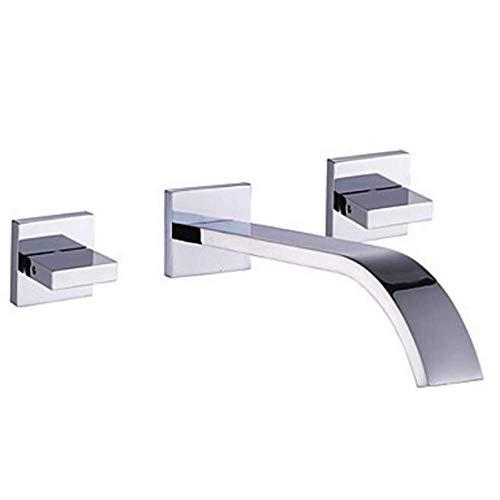 N/ A 3-Loch-Wand-Waschtisch-Mischbatterie Unterputz-Badarmatur 2-Hebel-Wand-Waschtisch-Mischbatterie Messing Chrom-Steckdose 20,6 cm