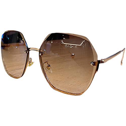 YFAX, Gafas de Sol, Gafas de Sol, Marco Semi-llanta, para Viajes al Aire Libre y conducción, Bloqueo al 100% UV-Tea