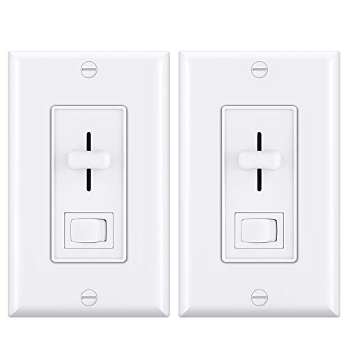(2 Pack) CML Dimmer Switch, Single Pole or 3-Way, for Dimmable LED Lights, Halogen/Incandescent/CFL Bulbs, Wallplate Included, UL Listed, White