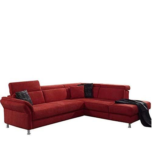 Cavadore Ecksofa Avagnoon mit Ottomane rechts, L-Form Sofa mit Kopfteilverstellung, Bettfunktion und Armteilverstellung, 269 x 81 x 228, Flachgewebe rot