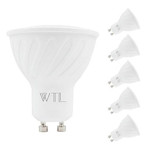 WTL GU10 6 Pack LED Light Bulb, 60w Equivalent Halogen Bulb(7W), 5000K Daylight, 550Lm Dimmable Base Track Light Recessed Light Spot Light