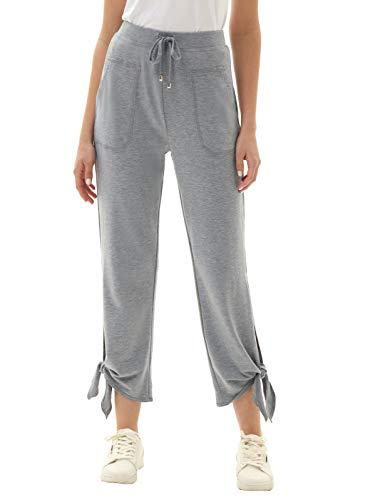 GRACE KARIN Damen Yogahose High Waist Sports Pants Freizeit Hose Trainingshose Yogahose mit Taschen Grau L CL0205S21-01