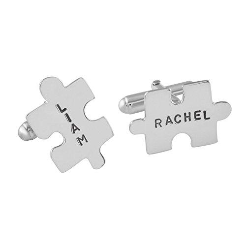 Gemelos para camisas personalizados puzzle de plata esterlina hecho a