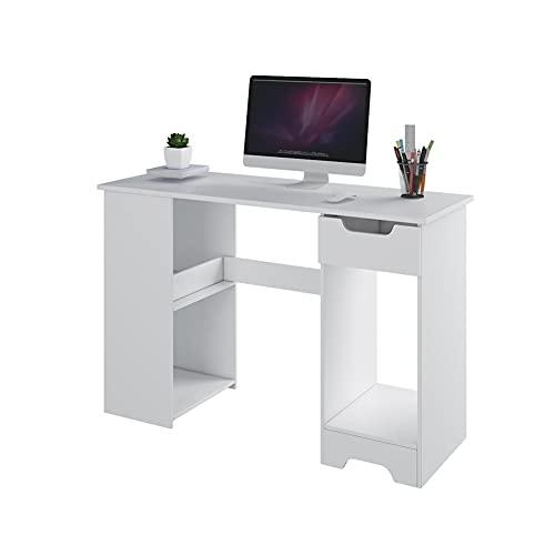 LYLY Escritorio de ordenador con cajón moderno para el hogar, oficina, escritura, escritorio de estudio para espacios pequeños, dormitorio, hogar, oficina, muebles, color blanco