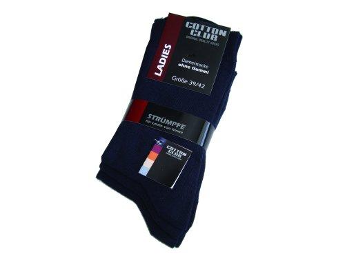 Cotton Club Damen-Socken ohne Gummi mit Lycra 6erPack (39-42, marine)
