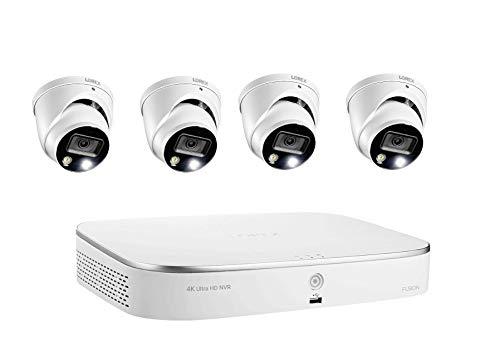 Lorex 4K Ultra HD de 8 canais Fusão 2TB Sistema NVR com 4xE892DD Dome inteligente Dissuasão 4K câmeras IP, 150ft Night Vision, CNV, Áudio, Lorex Início