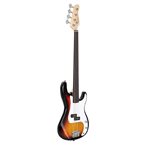 Glarry Fretless Electric Bass Guitar Full Size 4 String for experienced Bass Players Cord Wrench Tool Sunset Color