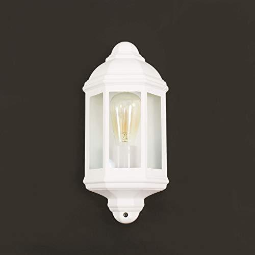 *Rustikale Wandleuchte in weiß inkl. 1x 12W E27 LED Wandlampe aus Alu-Guss für Garten Terrasse Weg Lampe Leuchten Beleuchtung außen*