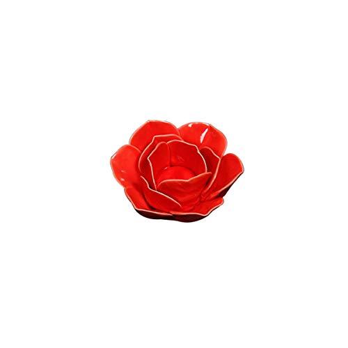 VOSAREA Bougeoir à Fleurs Porte-Bougie Chauffe-Plat Lotus Décoration de Table et de Maison (Rouge)